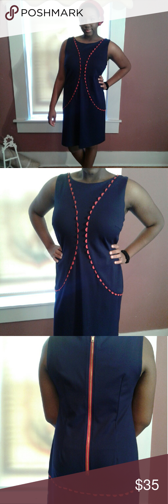 Lesley Evers Sleeveless Shift Dress Lesley Evers Sleeveless Shift Dress in navy  blue & red Rick rack trim on front & back. Dress is in great condition. Sold as is. 60% rayon 33% nylon 7% spandex.  Size  XL ****Modeled by daughter**** Lesley Evers  Dresses