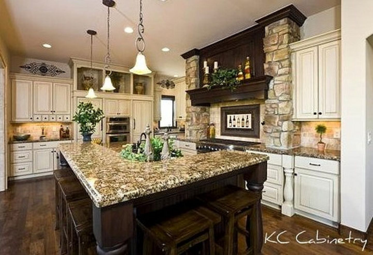 Tuscan kitchen design light distressed cabinets dark for Kitchen designs photo gallery