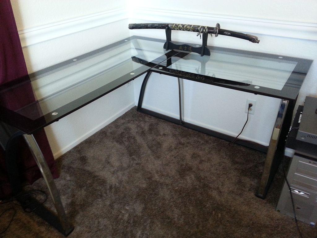 Easy Build Glass Corner Desk