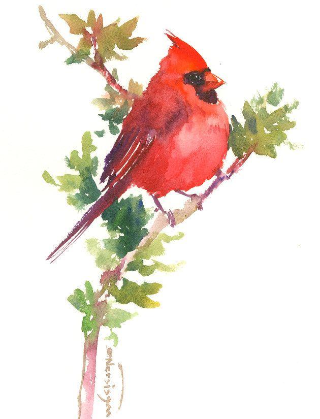 Red Northern Cardinal Bird Art Red Christmas Wall Art Original