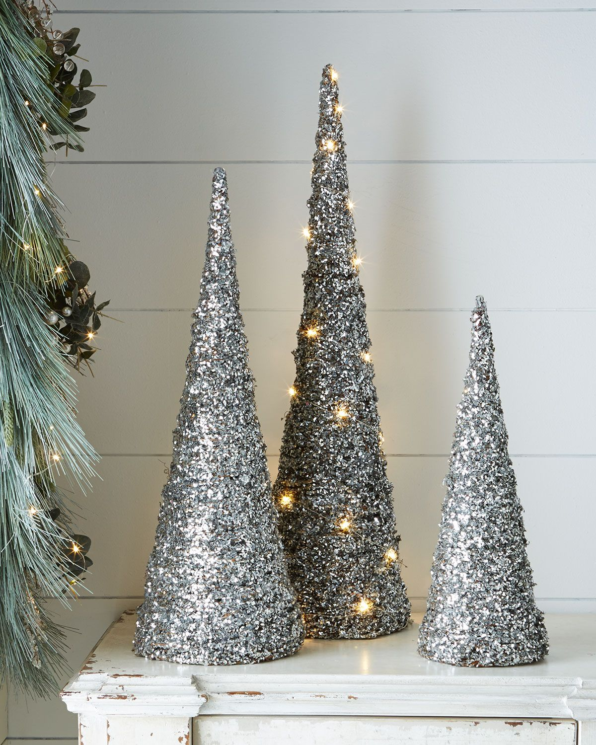 Blush Glitter Cone Trees (With images) | Tabletop ...