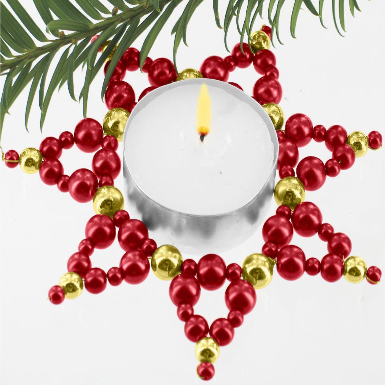 3 teelicht sterne im set zauberhafter perlen weihnachtsschmuck weihnachtsschmuck. Black Bedroom Furniture Sets. Home Design Ideas