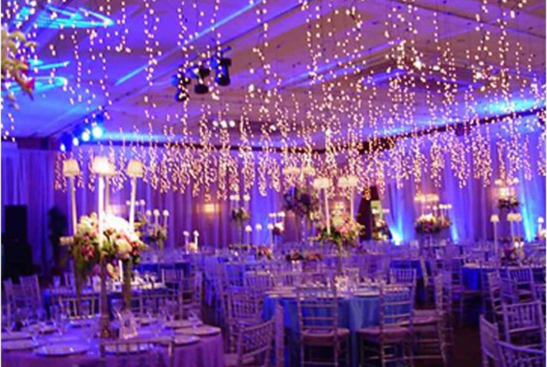 hanging christmas lights wedding decoration