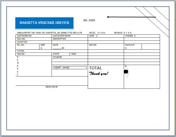 Basic Towing Invoice Form Towing service invoice template