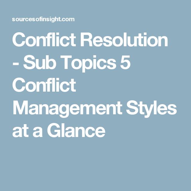 conflict resolution topics
