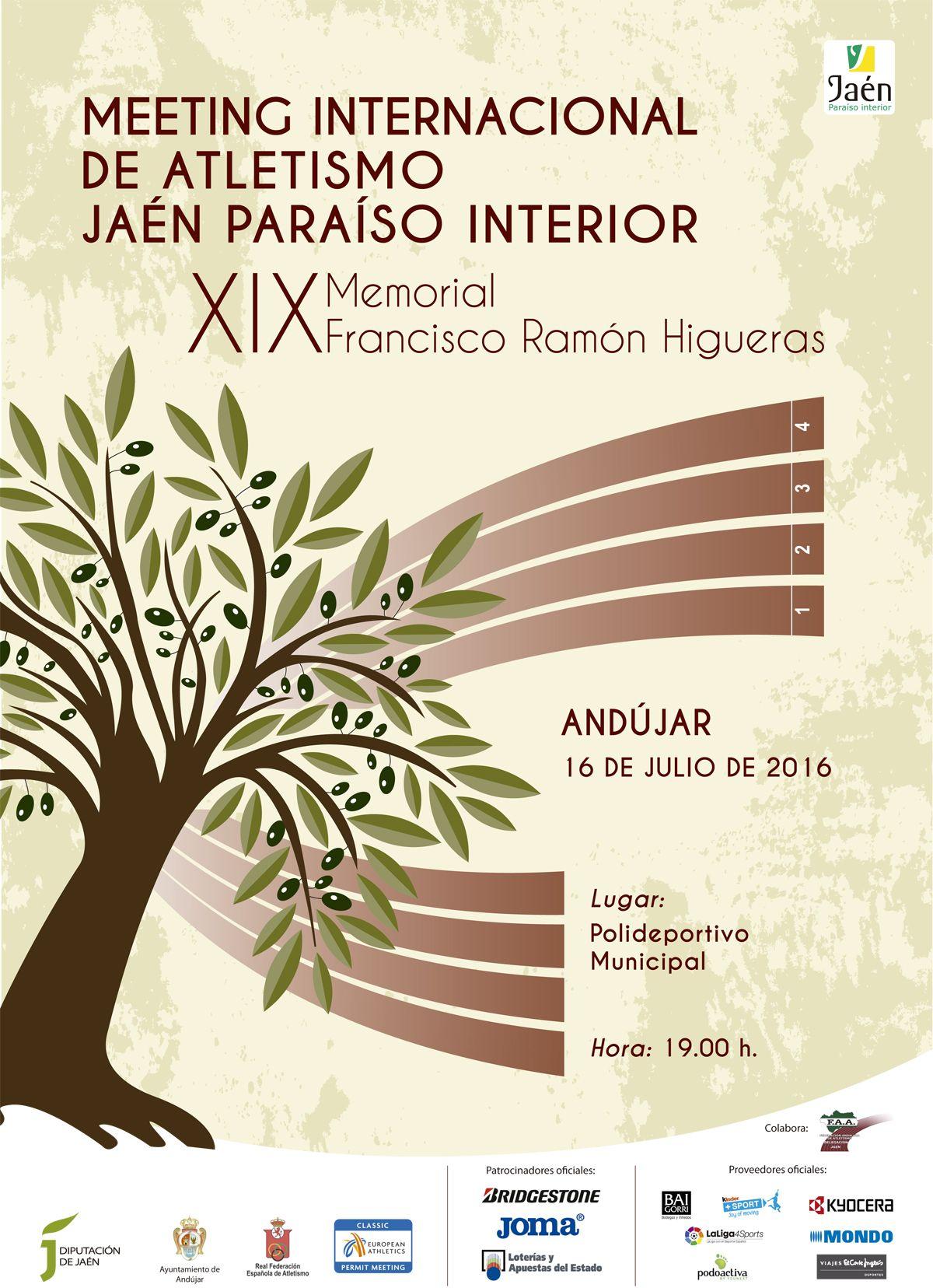 Cartel oficial del Meeting Internacional de Atletismo Jaén Paraíso Interior que se disputará en Andújar el 16 de julio.