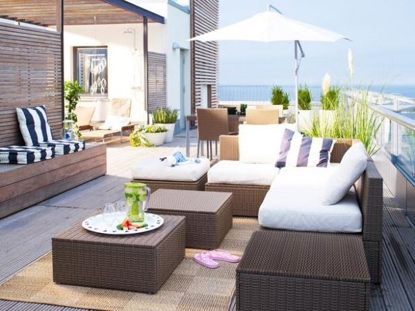 ideen f r gartenm bel ikea rattan gartnitur terrasse pinterest garten balkon und dachterrasse. Black Bedroom Furniture Sets. Home Design Ideas