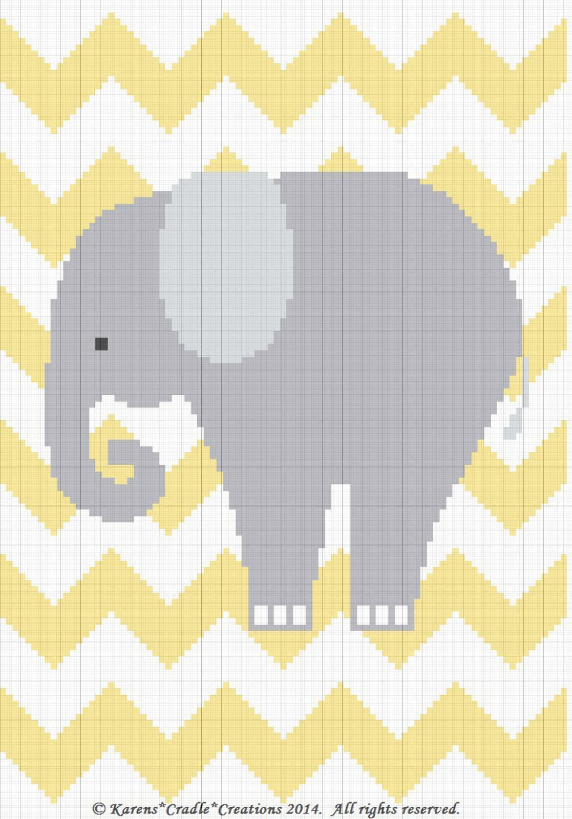 Crochet Patterns - ELEPHANT CHEVRON Baby Graph/Chart Afghan Pattern ...