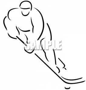 Clip Art Image Black And White Outline Of A Hockey Player Art Images Hockey Hockey Tattoo