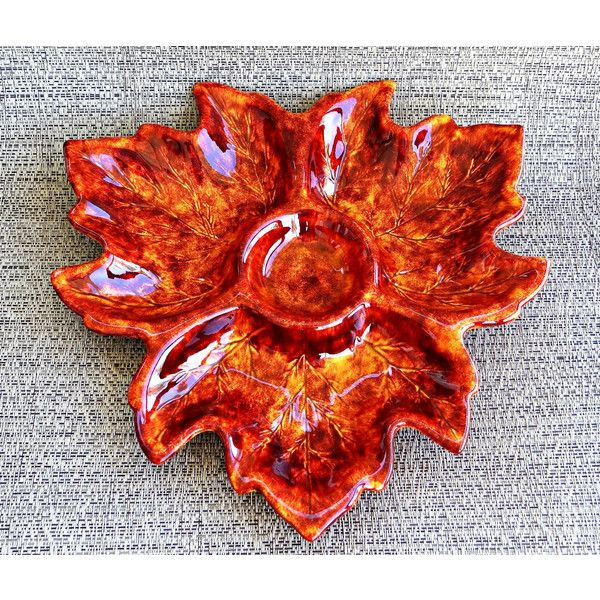 Vintage Orange And Brown Maple Leaf Divided Ceramic Serving Platter 24 Liked On Polyvore Featuring Home Kit Appetizer Trays Dip Tray Chip And Dip Bowl