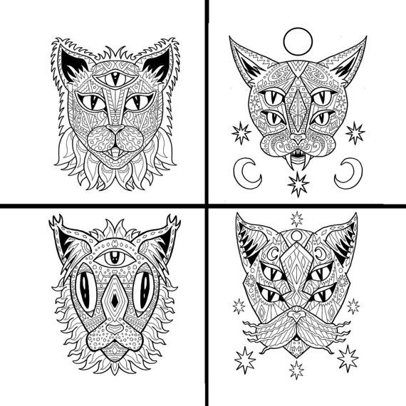 Four Pack Of Art Therapy Printable Coloring Pages For Adults Teens Or Kids Alien Cat Mandalas You Can Instantly Download PDF Files Each These