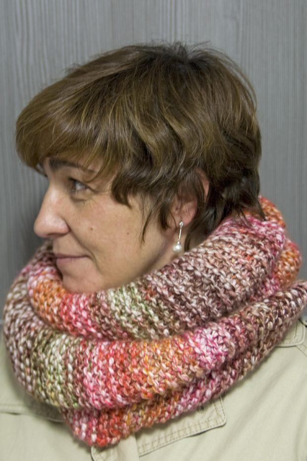 Cuello de punto con lana jaspeada