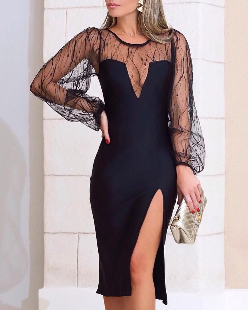 Sheer Mesh Insert Slit Bodycon Dress