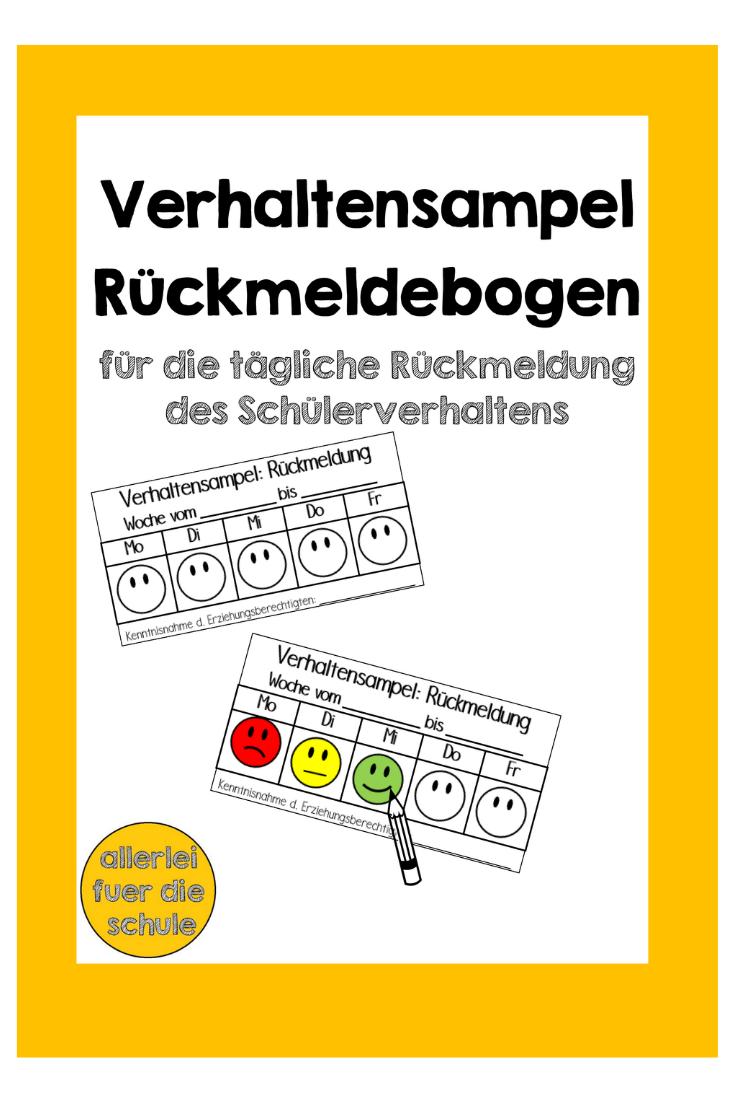 Verhaltensampel Ruckmeldebogen Unterrichtsmaterial Im Fach Fachubergreifendes Unterrichtsmaterial Ampel Deutsch Unterricht