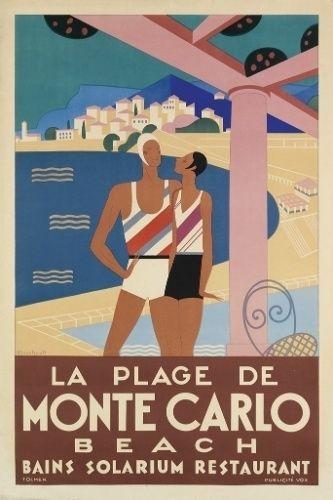 Cartaz de 1929 em estilo art déco retrata Monte Carlo, em Mônaco, tendo a praia e a cidade ao fundo. De autoria de Michel Bouchad, é esperado que o pôster atinja até 9 mil dólares (R$ 20 mil) no leilão