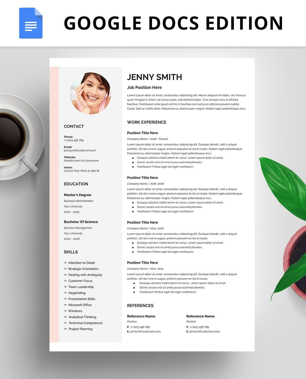Resume Template, CV, Google Docs Resume template, Resume