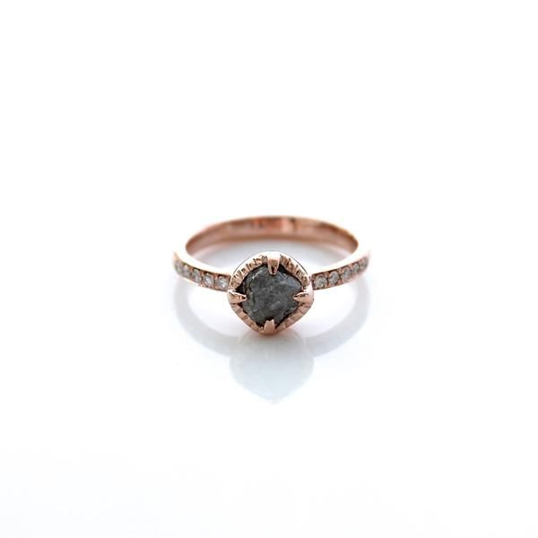 Rough Diamond Solitaire Rose Gold Ring