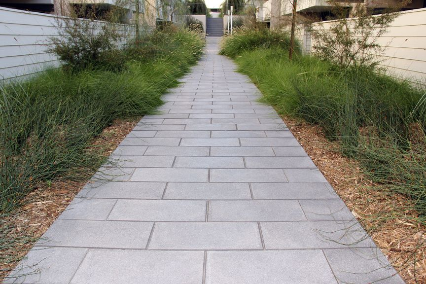 Beautiful Walkway With Our 12 X 24 Slab Ackerstone Pavers Slabs Paver Patio Outdoor Walkway Garden Walkway