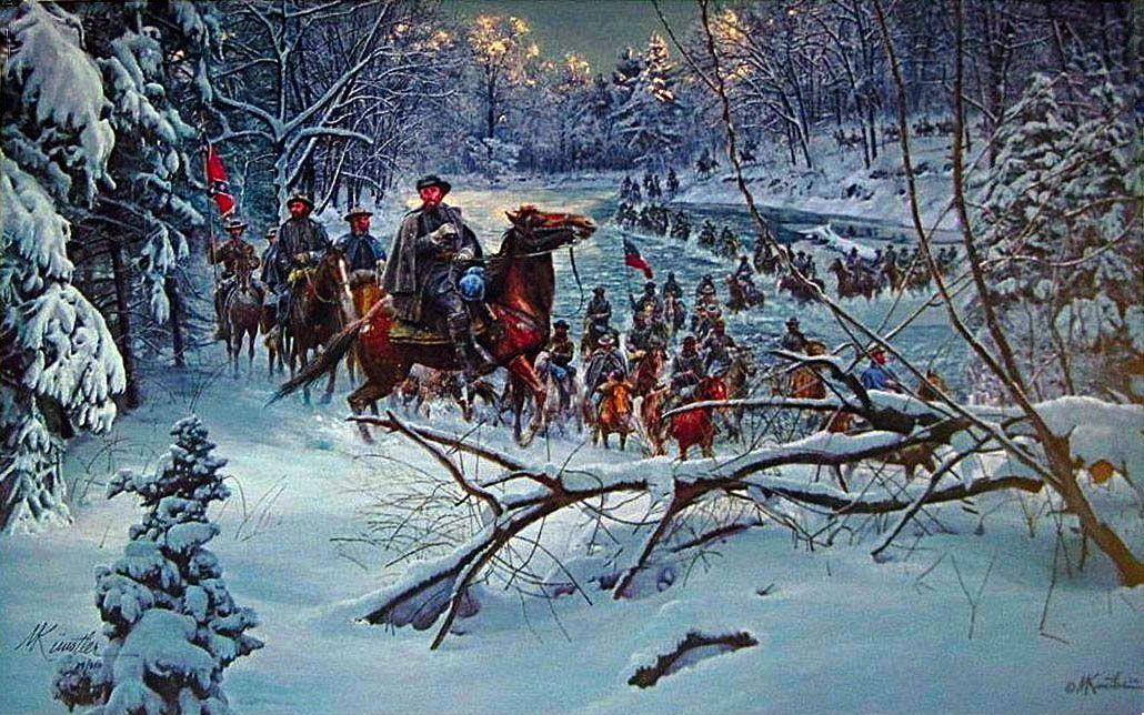 """""""Cruce Confederado"""", el Gen. N.B. Forrest en Ford Owen, 28 de noviembre de 1864. Artista Mort Kunstler."""
