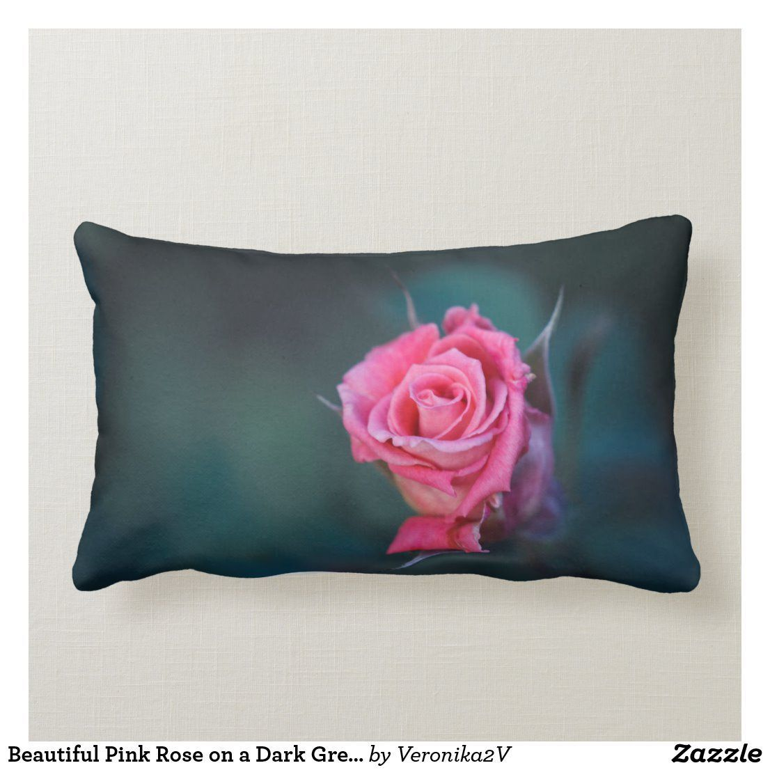 Beautiful Pink Rose On A Dark Green Background Lumbar Pillow Zazzle Com In 2020 Beautiful Pink Roses Dark Green Background Green Backgrounds