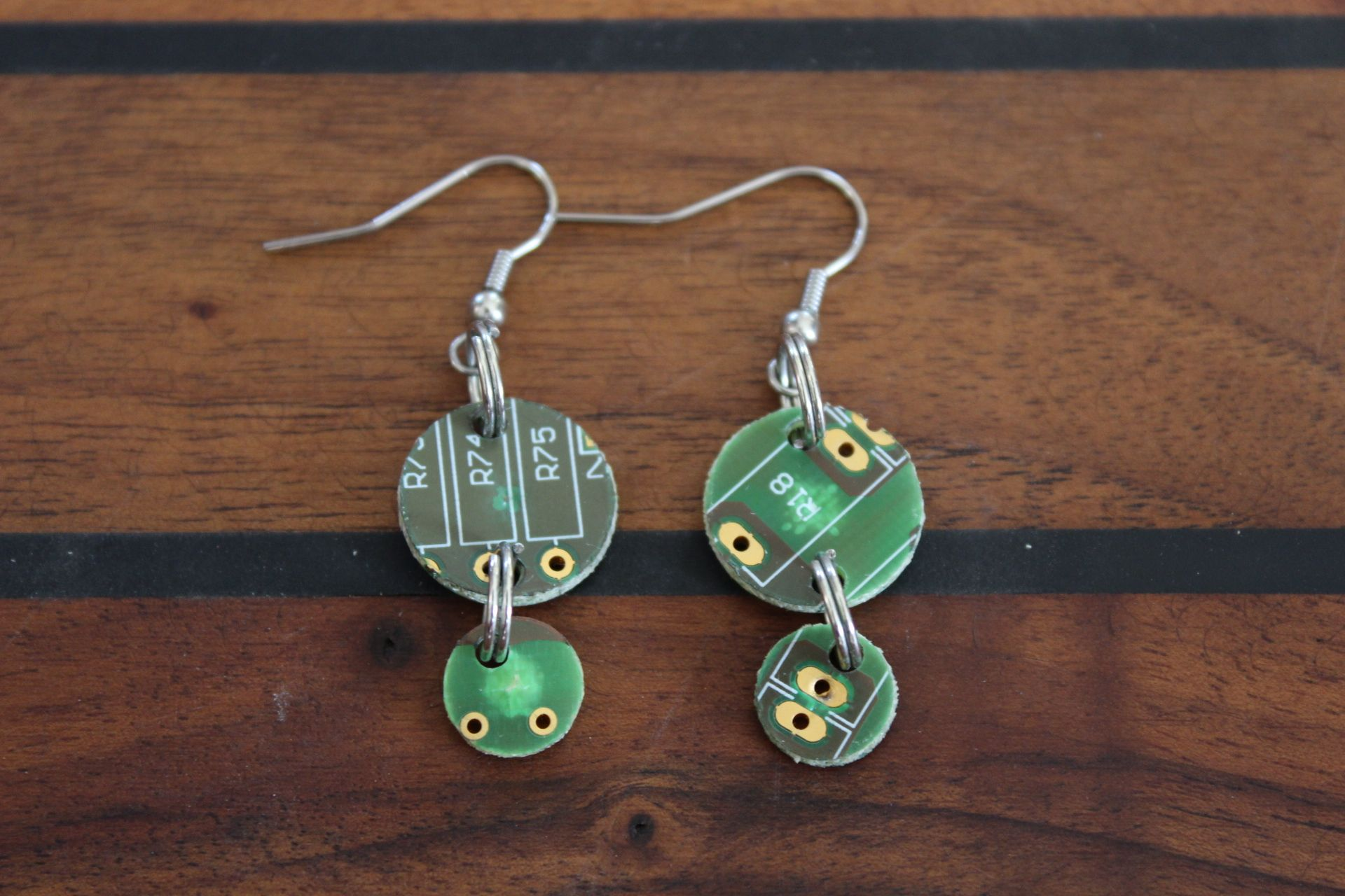 Selfmade Recycling Earrings Made Of Old Pcbs Ohrstecker Selber Aus Circuit Boards Upcycled Into Jewels Recycled Electronic Waste Elektroschrott Leiterplatten Leiterkarten Printplatten Gemacht