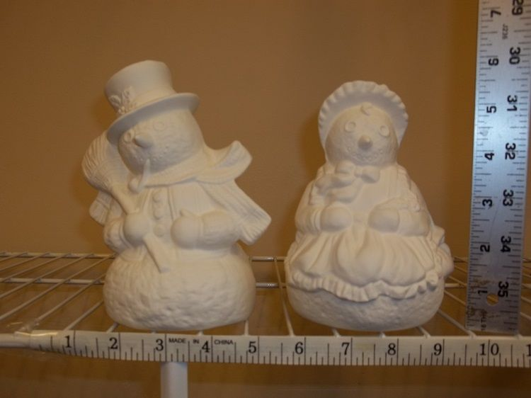 Ready To Paint Ceramic Bisque Snowman Snowwoman Snowcouple Ready To Paint Ceramics Ceramic Bisque Ceramic Painting