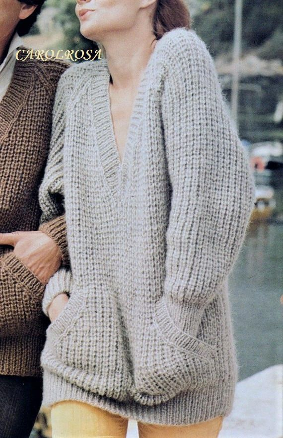 Loose jumper with pockets knitting pattern #ad | DIY Crafts ...
