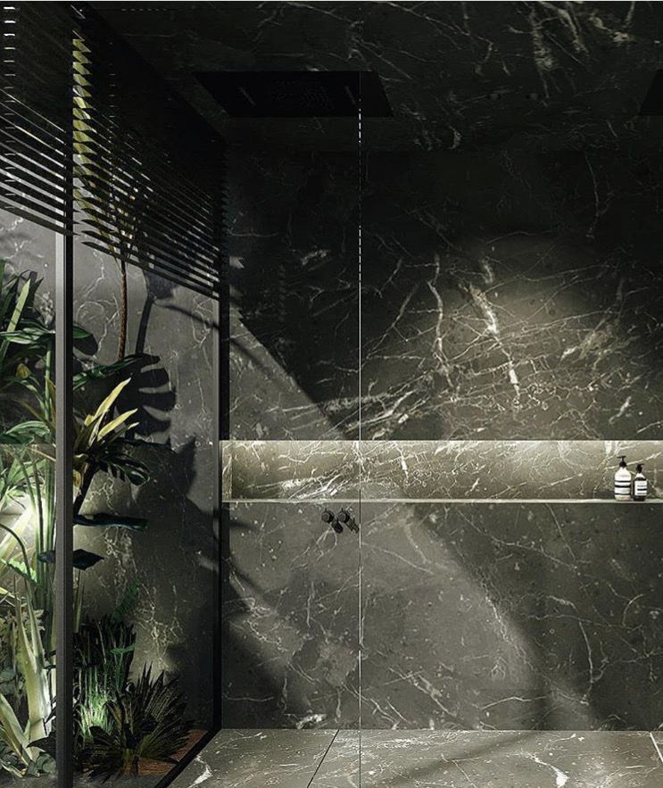 Tropicalbathroomdecorinteriordesign Bano De Marmol Negro Bano