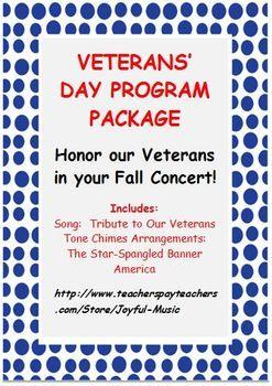 VETERANS' DAY PROGRAM PACKAGE | Veterans day songs ...