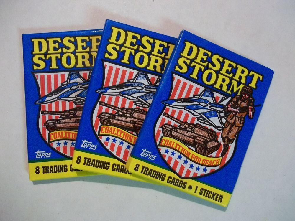 1991 topps desert storm card 3 pack lot us military