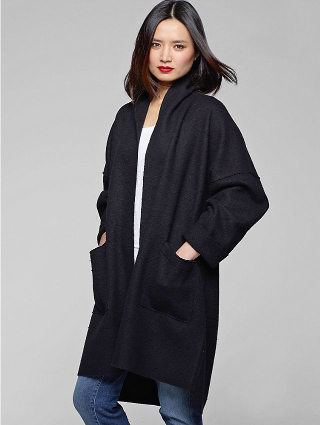 Kimono Knee-Length Coat in Boiled Wool Eileen Fisher The Icons ...