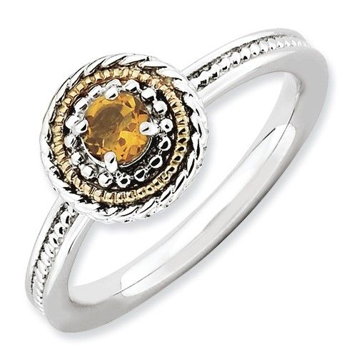 925 Sterling Silver Rhodium-Plated Prong Set Citrine Stackable Ring Sz 5-10