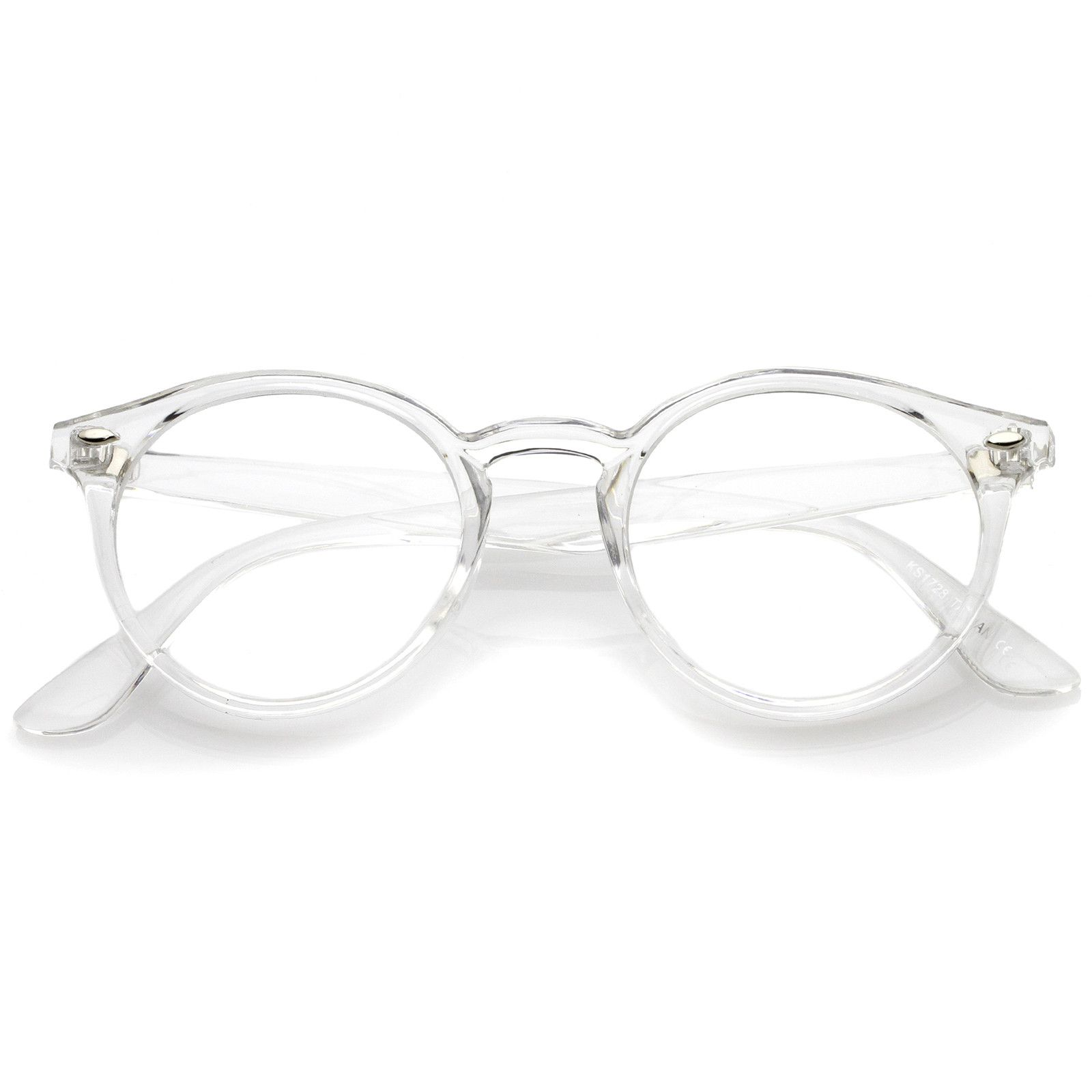Classic Translucent Horn Rimmed Clear Lens P3 Round Eyeglasses 49mm Clear Round Glasses Clear Glasses Frames Hipster Glasses