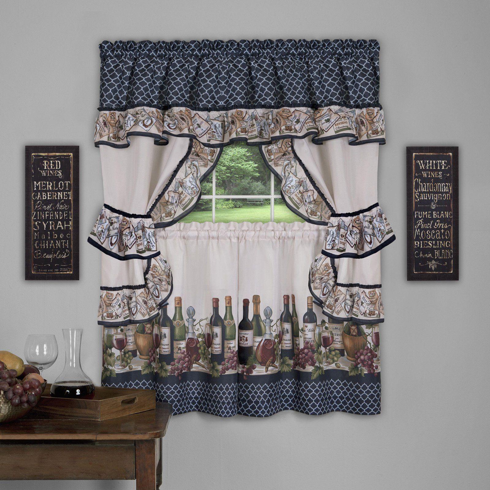 Achim Chateau Cottage Wine Bottles Curtain Set Cottage Curtains Blue Window Curtains Kitchen Window Curtains