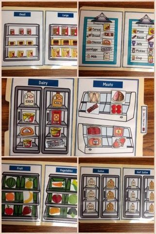 Grocery Store File Folders. Good idea to teach types of food, what needs the freezer, refrigerator, etc.