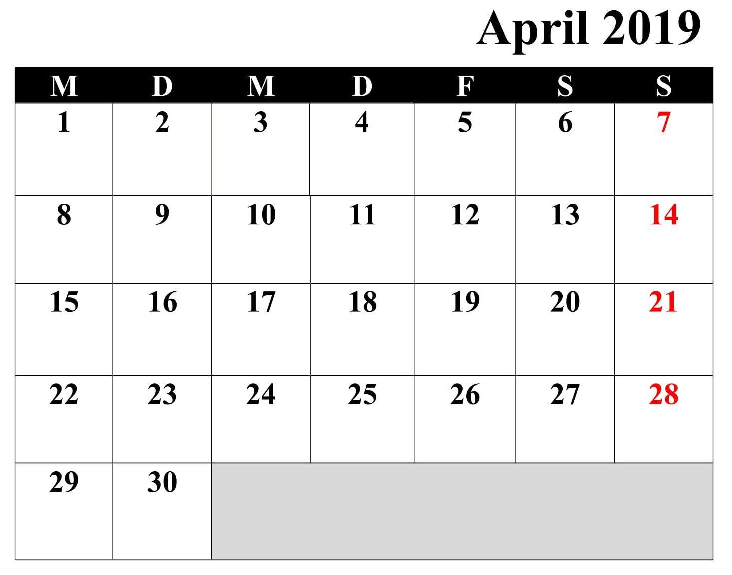 Kalender April Zum Ausdrucken Schwarzweib