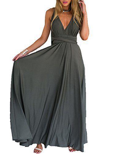 Photo of Clothink Women Gray Summer Deep V Neck Prom Dress M