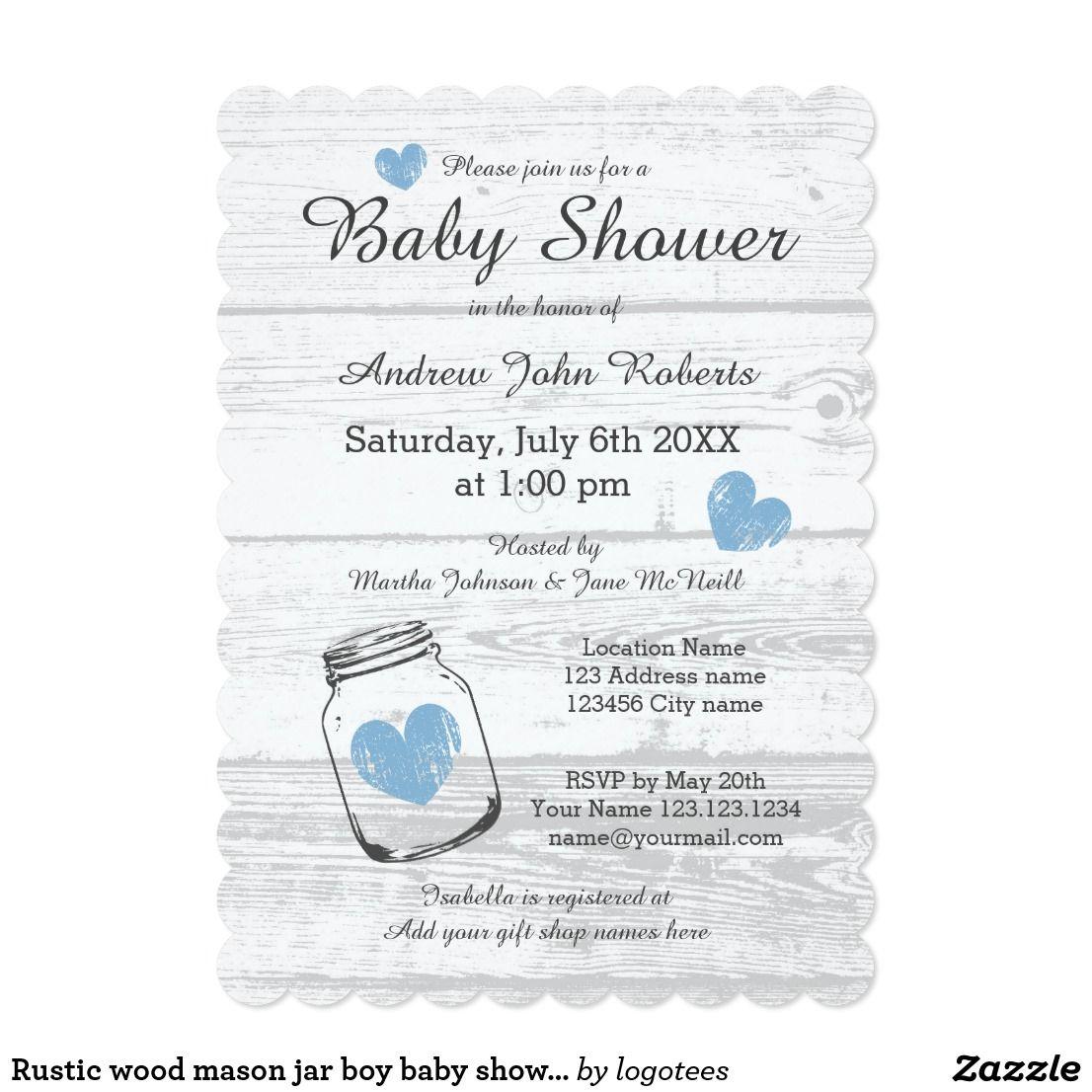 Rustic wood mason jar boy baby shower invitations | Boy baby showers ...