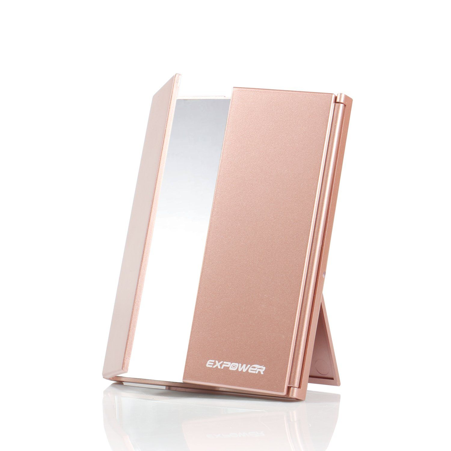 Expower TriFold Lighted Travel Makeup Mirror, Compact Led