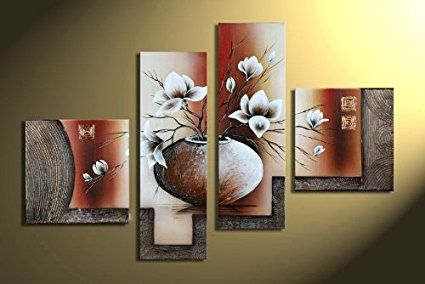 Wieco Art 4 Piece Elegant Flowers Stretched And Framed Hand Painted Modern Canvas  Wall
