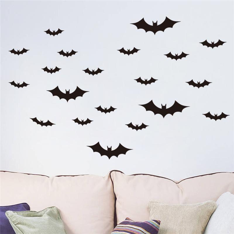 New Black Bat Wall Sticker Home Decor Living Room Bedroom Art Stickers Autocollant