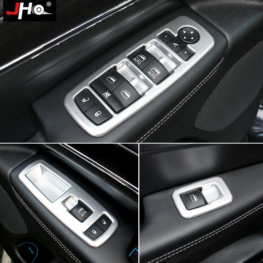 ABS Carbon Fiber Window Switch Panel Cover Trim For Jeep Grand Cherokee 2014-18