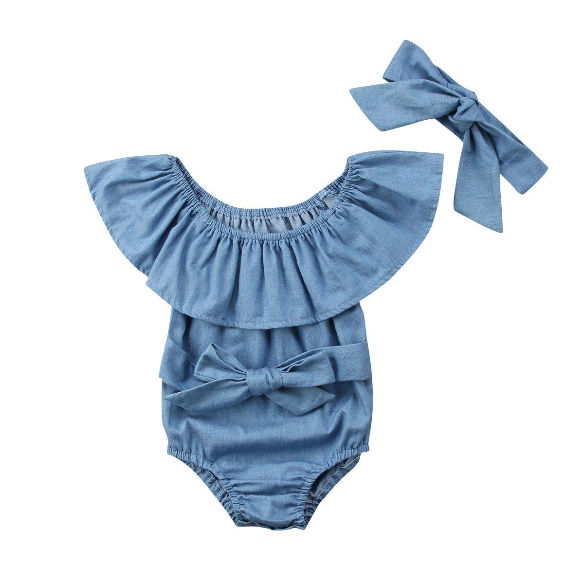 Baby Girl Infant Denim Ruffle Romper Bodysuit Jumpsuit Outfit Kid Clothes Summer