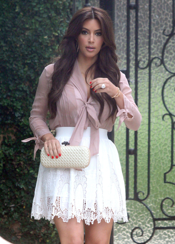 Kim kardashian hot in short white skirt in beverly hills kim