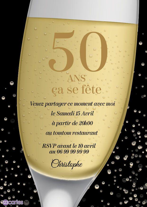 Bulles de Champagne en 2020 | Invitation anniversaire, Anniversaire 50 ans