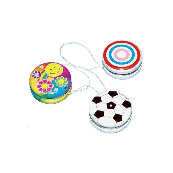 Cirkel jojo 3,5 cm. Deze witte jojo met cirkels is gemaakt van metaal en heeft een formaat van ongeveer 3,5 cm in diameter.