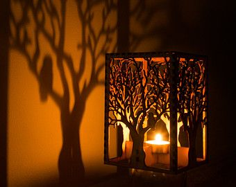 Barred Owl in Tree laser cut wood candle luminary. 5