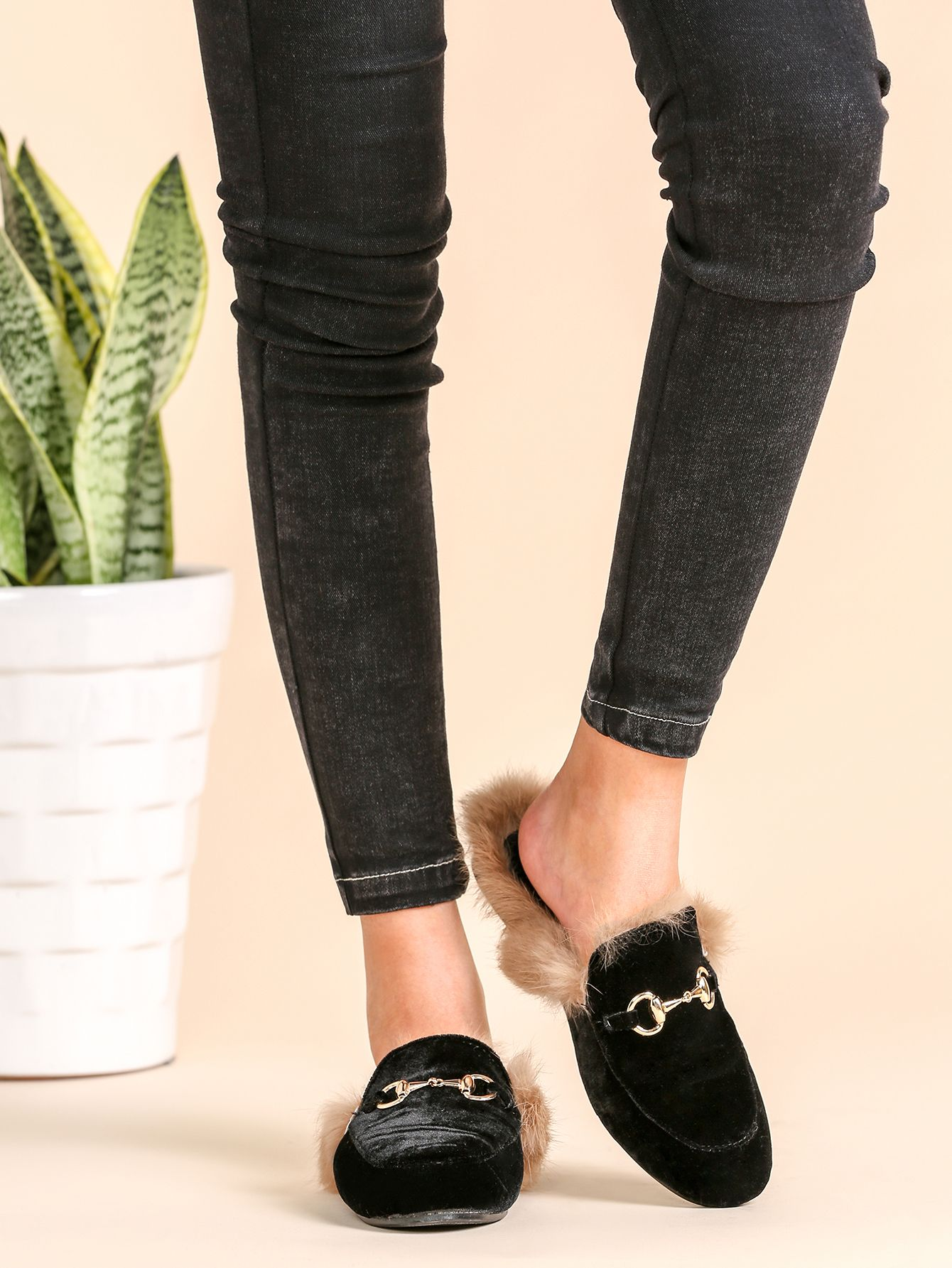 ac83cf2be Shop Black Velvet Fur Lined Loafer Slippers online. SheIn offers Black Velvet  Fur Lined Loafer Slippers   more to fit your fashionable needs.