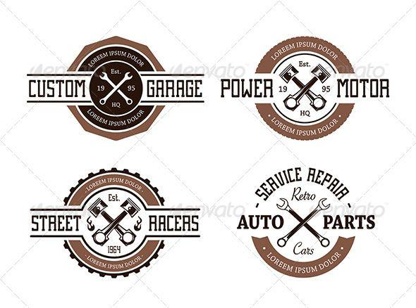 Vector Auto Emblems Shop Logo Design Mechanics Logo Retro
