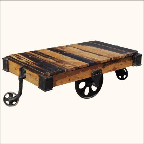 Vintage Rustic Reclaimed Wood Factory Cart Coffee Table On Wheel